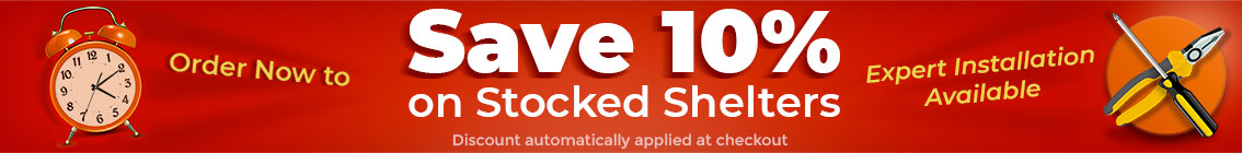 Save 10% off Stocked Shelters